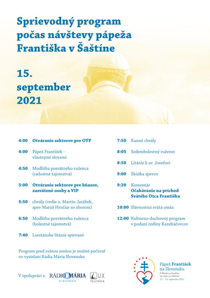 Sprievodný program počas návštevy Svätého Otca v Šaštíne